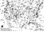 Latest United States (CONUS) surface analysis - Black and White